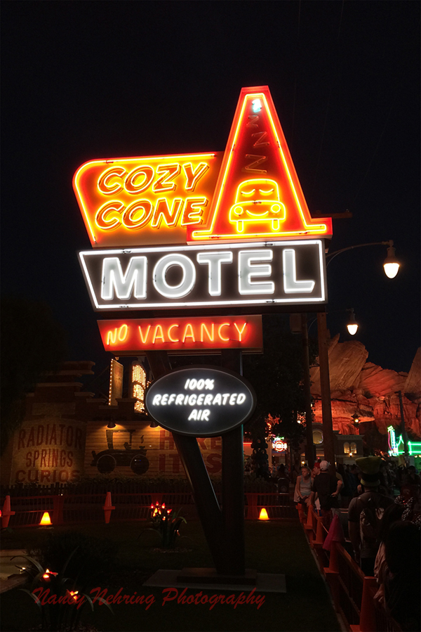 Cosy Cone Motel neon in Carsland at Disneyland.