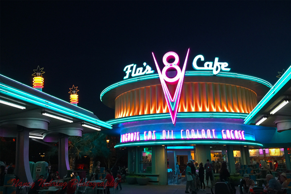 Flo's V8 Cafe neon in Carsland in Disneyland.