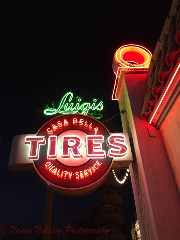 Luigis Casa Della Tires neon in Carsland at Disneyland