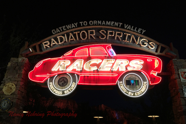 Radiator Springs Racer neon in Carsland at Disneyland